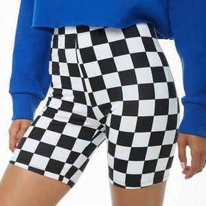 Forever21 Checkered Biker Shorts